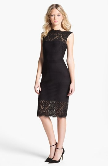 Tadashi Shoji Lace Detail Sleeveless Pencil Dress