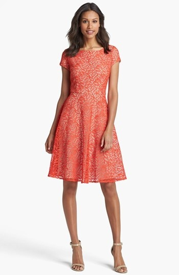 Taylor Dresses Cap Sleeve Lace Fit & Flare Dress