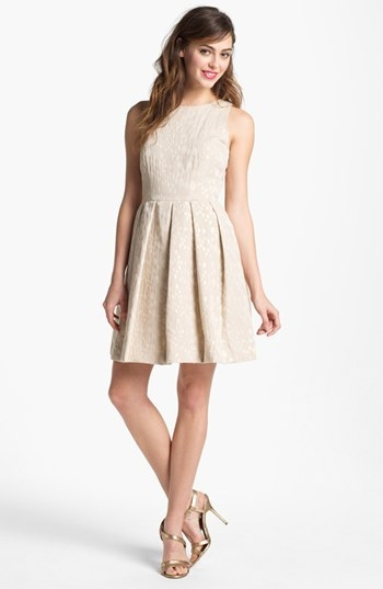 Taylor Dresses Metallic Jacquard Fit & Flare Dress