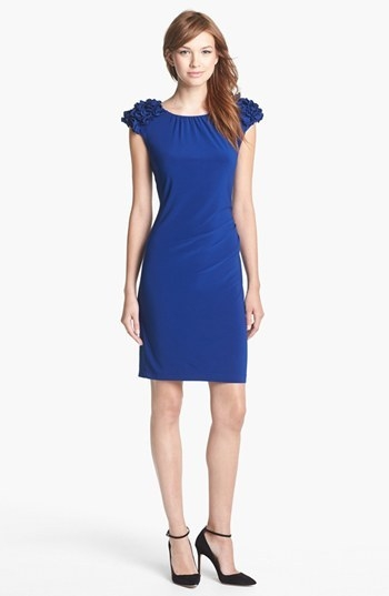 Taylor Dresses Ruffled Detail Jersey Sheath Dress