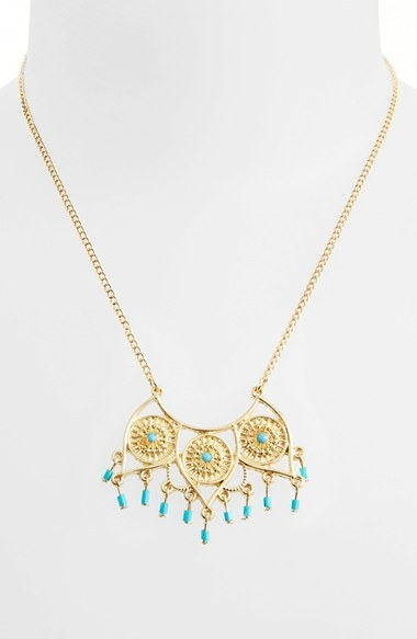 Topshop Beaded Open Pendant Necklace