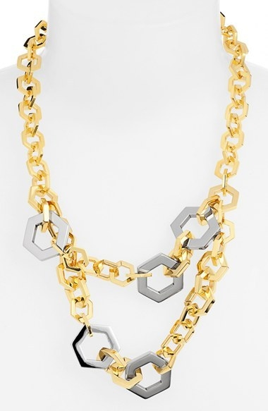 Tory Burch Hexagon Two-Strand Necklace