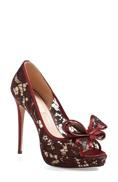 Valentino 'Lace Couture Bow' Open Toe Pump (Women)