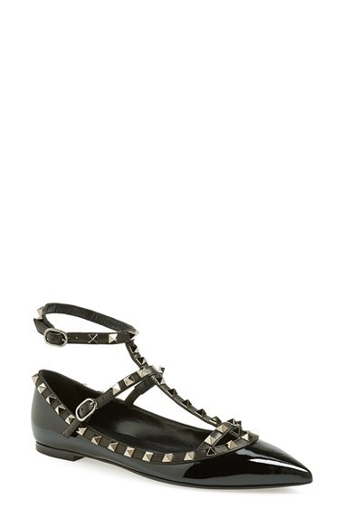 Valentino 'Noir Rockstud' Double Ankle Strap Patent Leather Pointy Toe Flat (Women)
