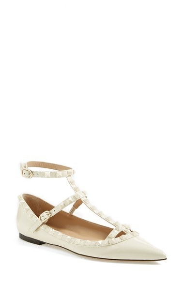 Valentino 'Punkouture' Studded T-Strap Pointy Toe Pump (Women)