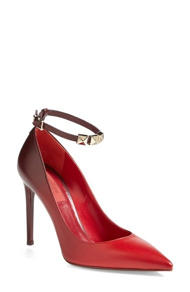 Valentino 'Rough Absolute' Ankle Strap Pump (Women)