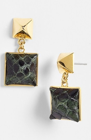 Vince Camuto 'Blow Up Pyramid' Leather Stud Drop Earrings