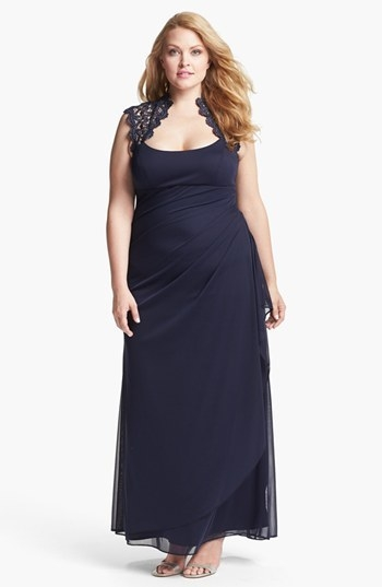 Xscape Lace Yoke Mesh Gown (Plus)