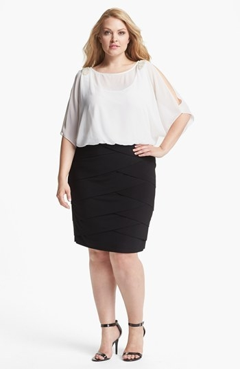 Xscape Mock Two-Piece Dress (Plus Size)
