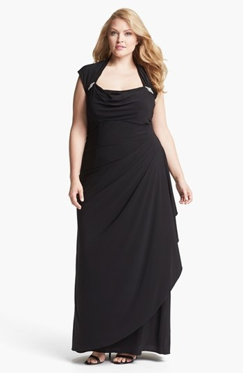 Xscape Ruched Gown (Plus)