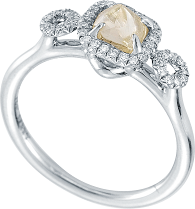 Deco Rough Diamond Engagement Ring
