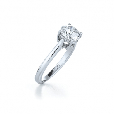 Classic Four Prong Solitaire Ring with a Round Diamond in Platinum