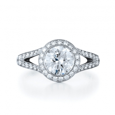 Round Diamond and Platinum Ring with Diamond Frame and Split Band