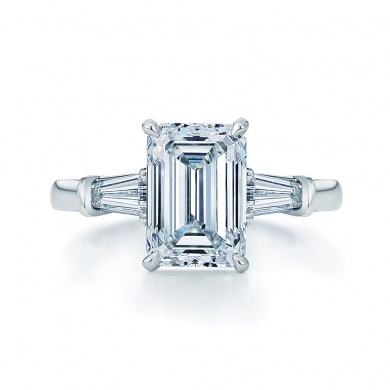 Emerald Cut Diamond and Platinum Ring with Two Tapered Baguettes