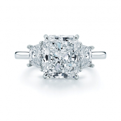 Radiant Cut Diamond and Platinum Ring with Two Trapezoids