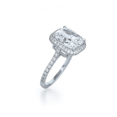 Cushion Diamond Ring with a Diamond Frame