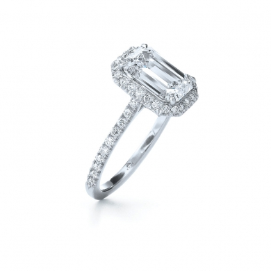 Emerald Cut Diamond Ring with a Diamond Frame