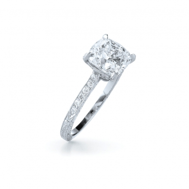 Cushion Diamond Ring in Platinum with a Pave Diamond and Hand Engraved Band