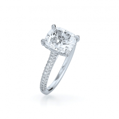 Cushion Diamond Ring in Platinum with a Rounded Diamond Band
