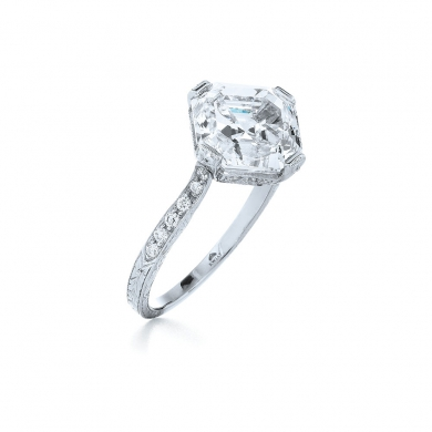Asscher Cut Diamond Ring in Platinum Set on the Diamond Shape with a Vintage Style Band