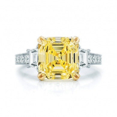 Yellow Asscher Cut Diamond Ring in Platinum and Yellow Gold with Two Trapezoids and a Pave Diamond B