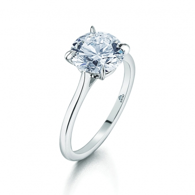 The Kwiat Signature Floating Basket Solitaire Ring with a Round Diamond in Platinum