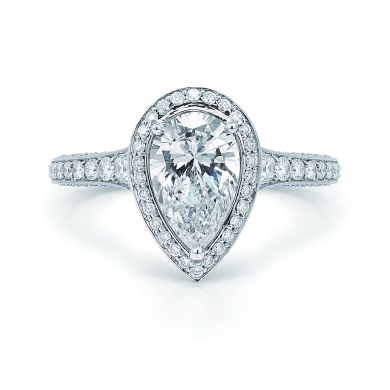 Pear Shape Diamond Ring with a Diamond Frame