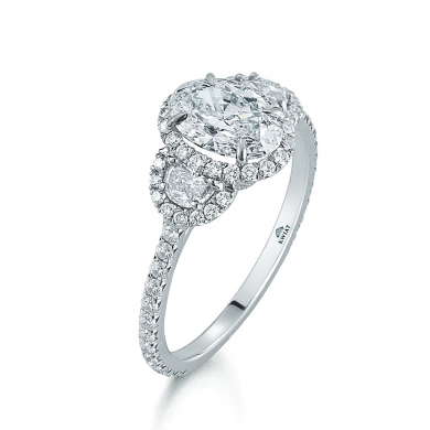 Oval Diamond and Platinum Ring with Two Half Moons and a Diamond Frame