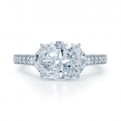 Oval Diamond Ring in Platinum in an East-West Direction with a Three-Sided Pave Diamond Band