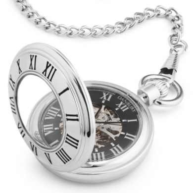 Open Face Engraved Pocket Watch for Groomsmen Gifts