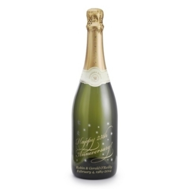 "Personalized Reserve Sparkling ""Happy Anniversary"" Etched Wine Bottle"