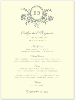 Traditional Style Letterpress Menu Cards LP Charcoal