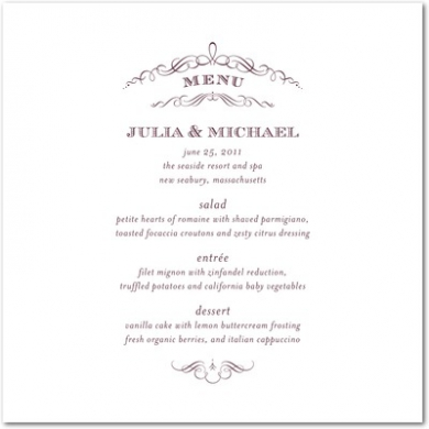 Vintage Nuptials Letterpress Menu Cards LP Burgundy