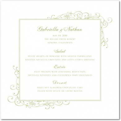 Stately Scroll Letterpress Menu Cards LP Celery