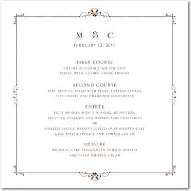 Understated Luxury Thermography Menu Cards TH Brown