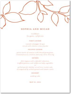 Darling Leaves Thermography Menu Cards TH Mandarin