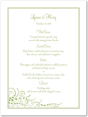 Flowing Bliss Thermography Menu Cards TH Celery