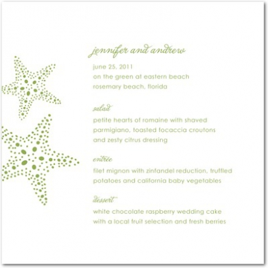 Starry Pair Thermography Menu Cards TH Celery