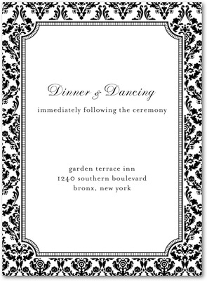 Distinguished Damask Thermography Wedding Reception Cards Black