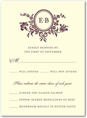Traditional Style Letterpress Wedding Response Cards LP Burgundy