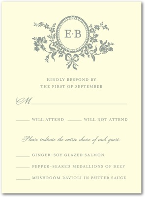Traditional Style Letterpress Wedding Response Cards LP Charcoal