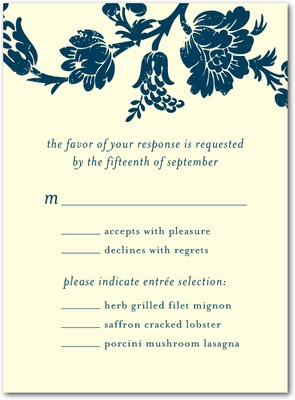 Hanging Floral Letterpress Wedding Response Cards LP Indigo