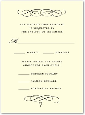 Scroll Letterpress Wedding Response Cards Black