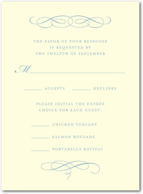 Scroll Letterpress Wedding Response Cards Lagoon