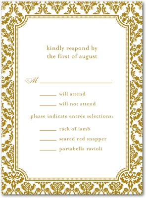 Distinguished Damask Thermography Wedding Response Cards TH Gold