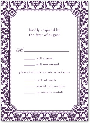 Distinguished Damask Thermography Wedding Response Cards TH Plum