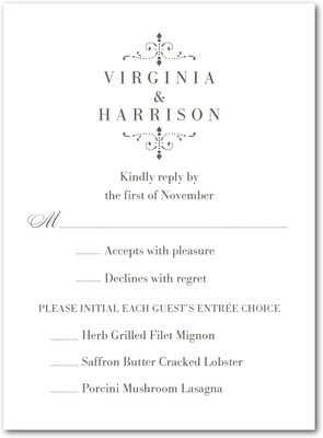 Simple Enchantment Thermography Wedding Response Cards TH Charcoal