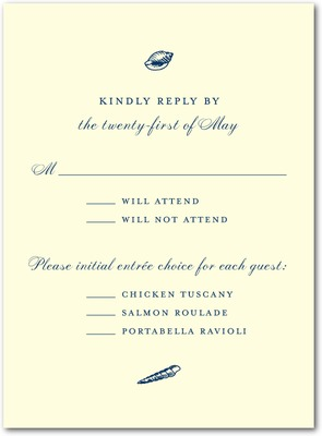 Shoreline Treasures Thermography Wedding Response Cards Navy