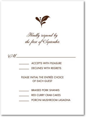 Elegant Impression Thermography Wedding Response Cards TH Brown