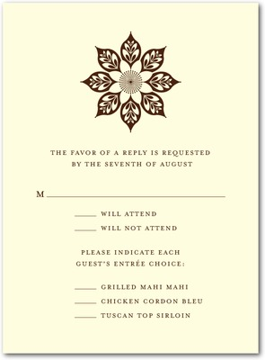 Abstract Elegance Thermography Wedding Response Cards TH Brown